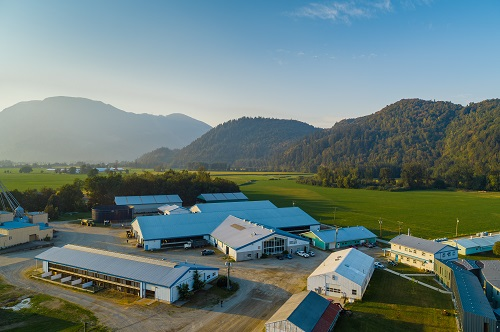 Aerial shot of the UBC Dairy Centre